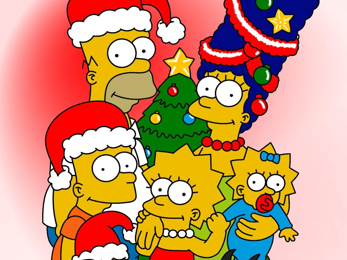 wallpaper of the simpsons with christmas decorations
